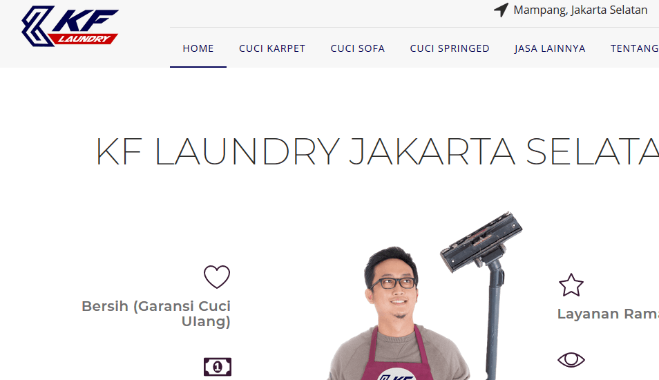 jasa cuci karpet, sofa, springbed- KF Laundry Jakarta Selatan
